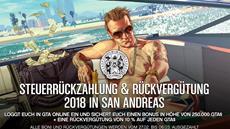 Neu in GTA Online: 250.000 GTA$-Steuerrückzahlung und Rückvergütung in San Andreas